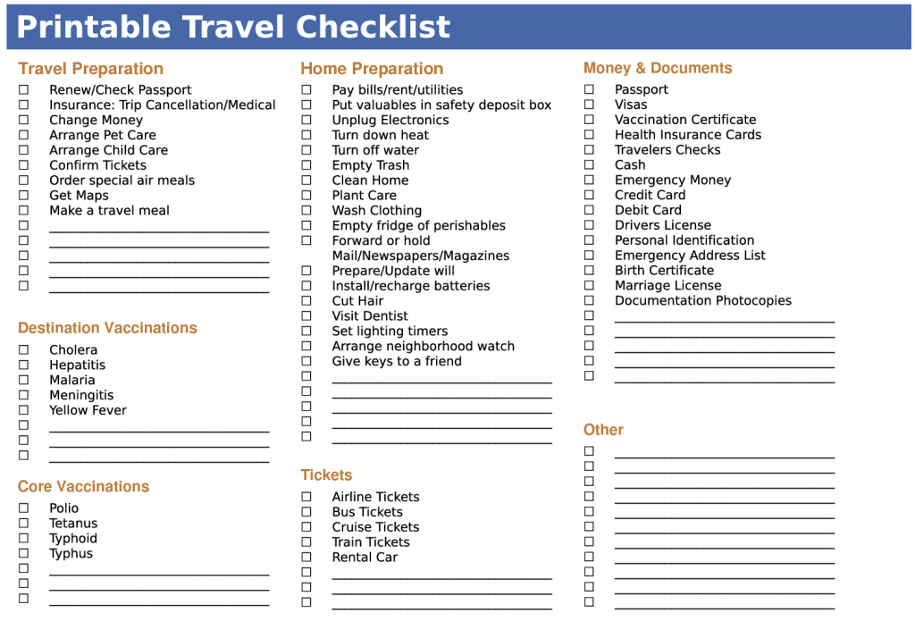 pintable travel packing list
